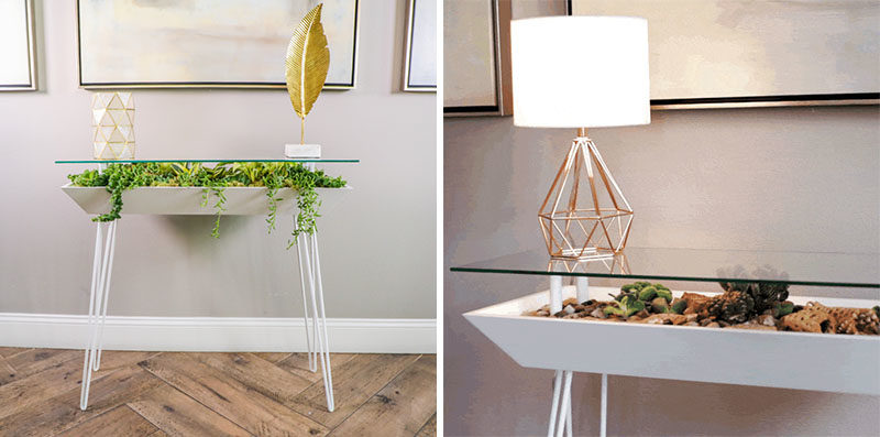 Decor Ideas - The BloomingTable has been designed with a built-in planter to allow users to easily grow plants in their home, while also maximizing their space. It laos has a glass table top to showcase small decorative items and the plants below. #TableDesign #Planter #Succulents #Cacti #IndoorPlanter #SucculentPlanter #CactiPlanter