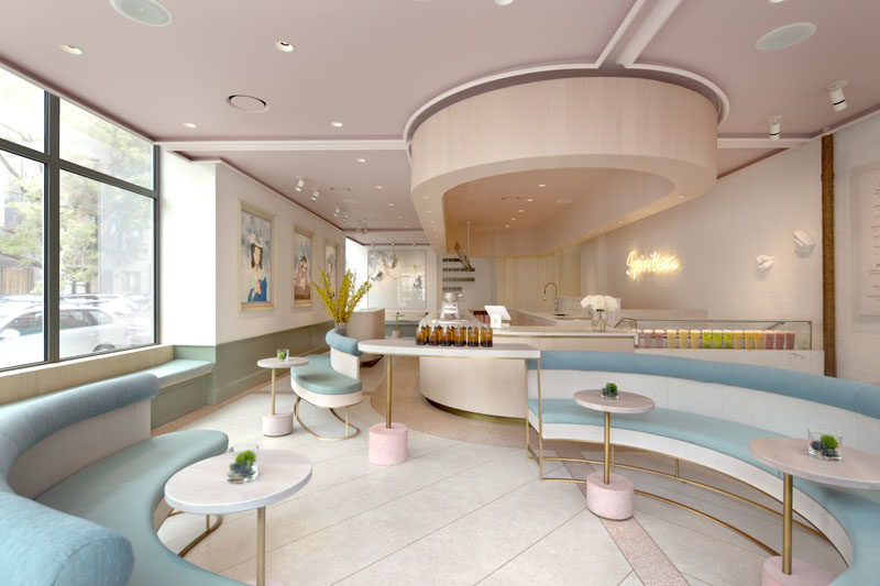 This Tea Shop In New York Is Filled With Curved Seating And Soft Colors