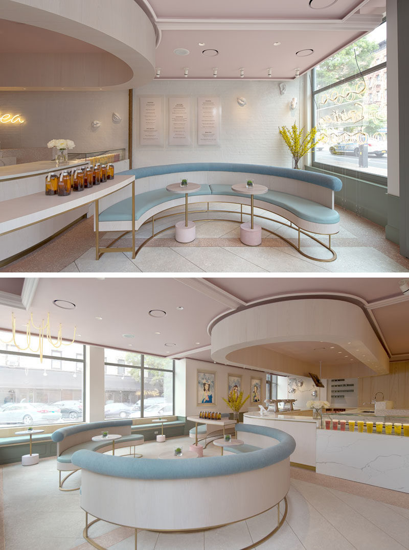 Curved seating in this modern tea store, creates places for friends to gather and enjoy signature items like Strawberry Cloudtea, Brown Sugar Milk Peach Jelly, and other various drinks and light meals. #TeaStore #Tea #ModernRetail #ModernCafe