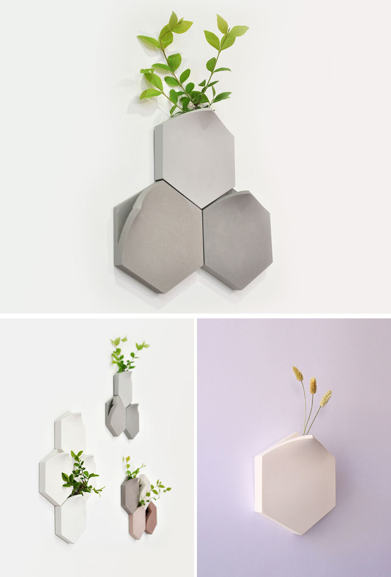 Decor Ideas - The Teumsae wall-mounted vases were inspired by plants growing through the tiny gaps between pavements and stones. #HomeDecorIdeas #DecorIdeas #WallMountedVase #Vases #WallDecorIdeas