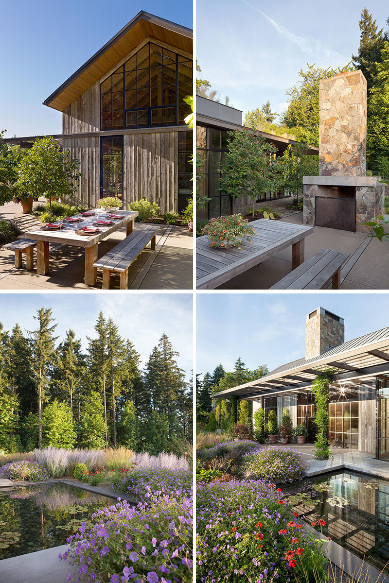 Landscaping Ideas - Easily accessible outdoor living spaces with outdoor dining, a fireplace, and water features, offer plentiful spaces for family gatherings. #OutdoorDining #LandscapingIdeas #GardenIdeas #OutdoorFireplace #WaterFeature #Pond