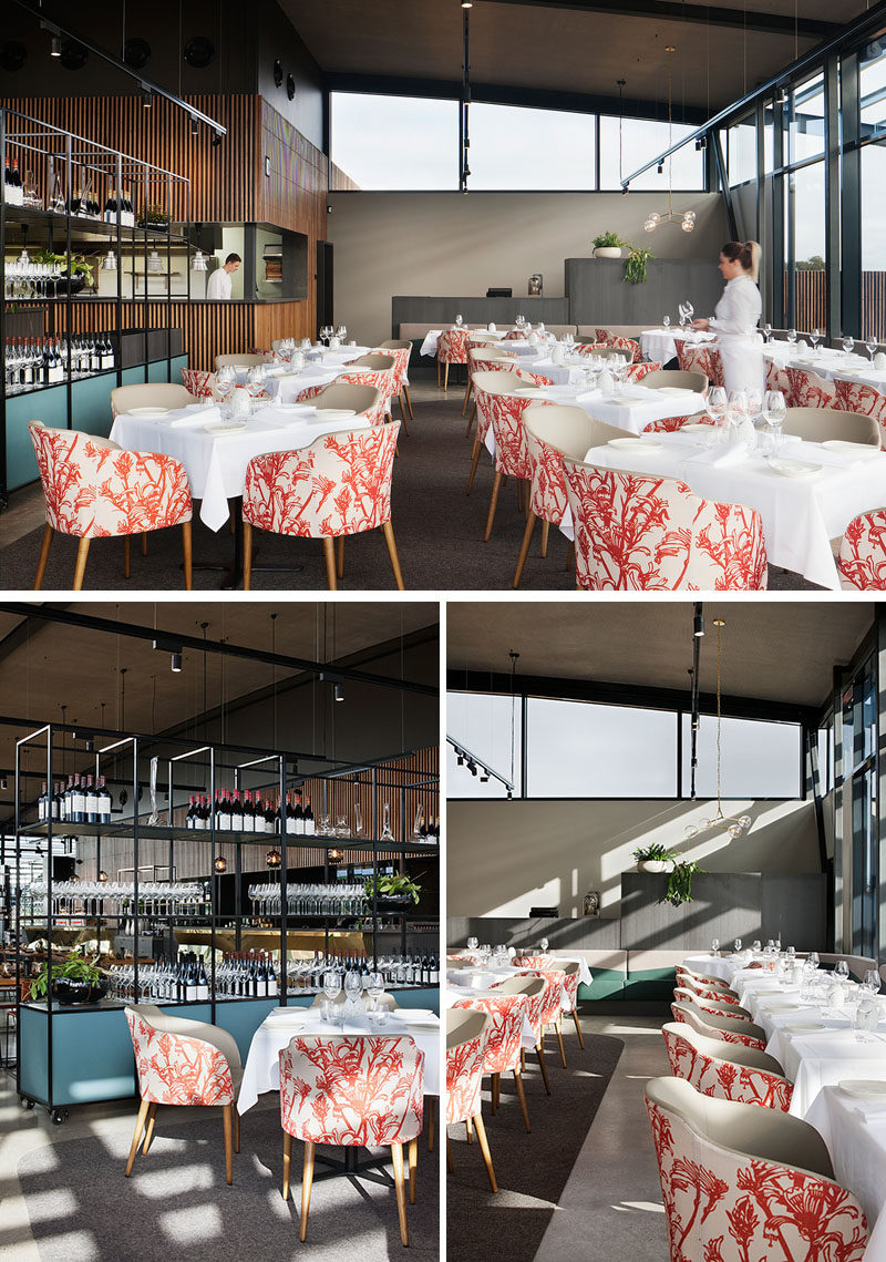 Restaurant Ideas - Upholstered chairs feature botanical motifs in red, adding a pop of color to the dining room. #RestaurantIdeas #RestaurantDesign #RestaurantSeating