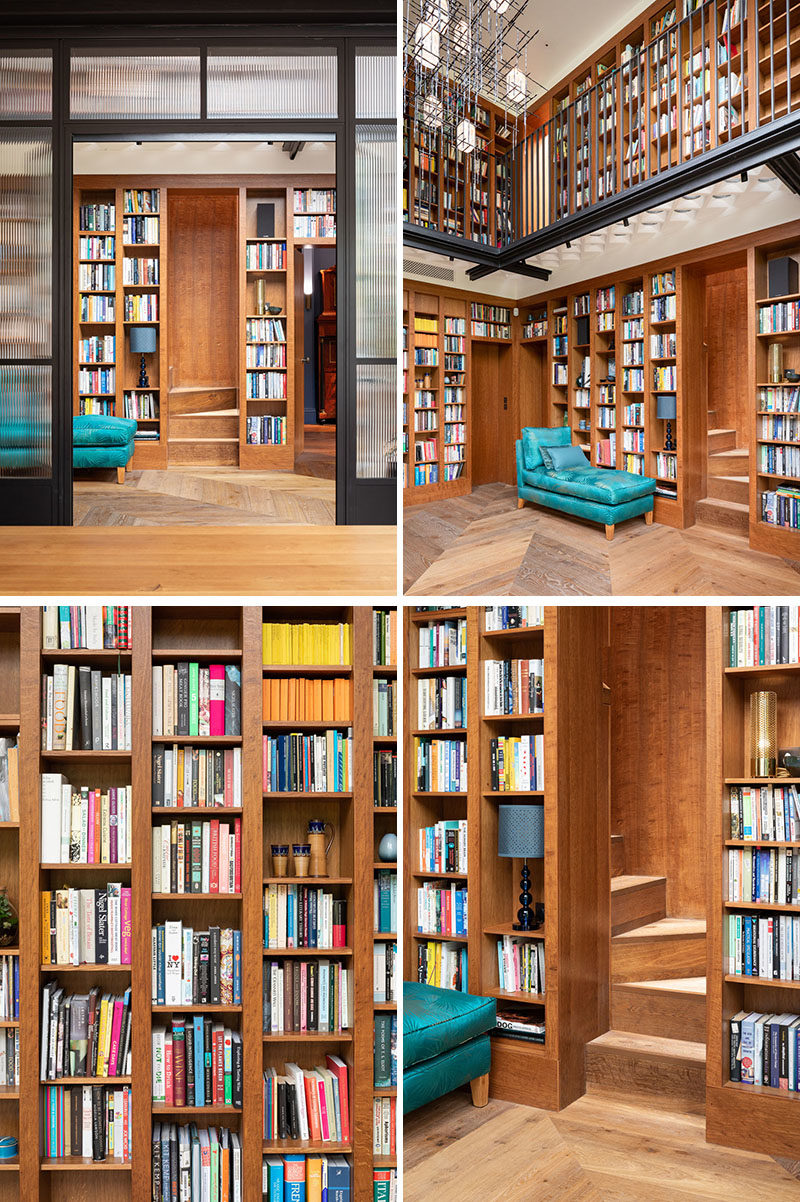 Home Library Ideas - This home features an impressive two-story gallery space to display the client's extensive book collection. Brown Oak was used throughout for the bookshelves and was chosen to complement the timber floor, and for its luxurious warmth and caramel tones. #HomeLibrary #ShelvingIdeas #Bookshelves
