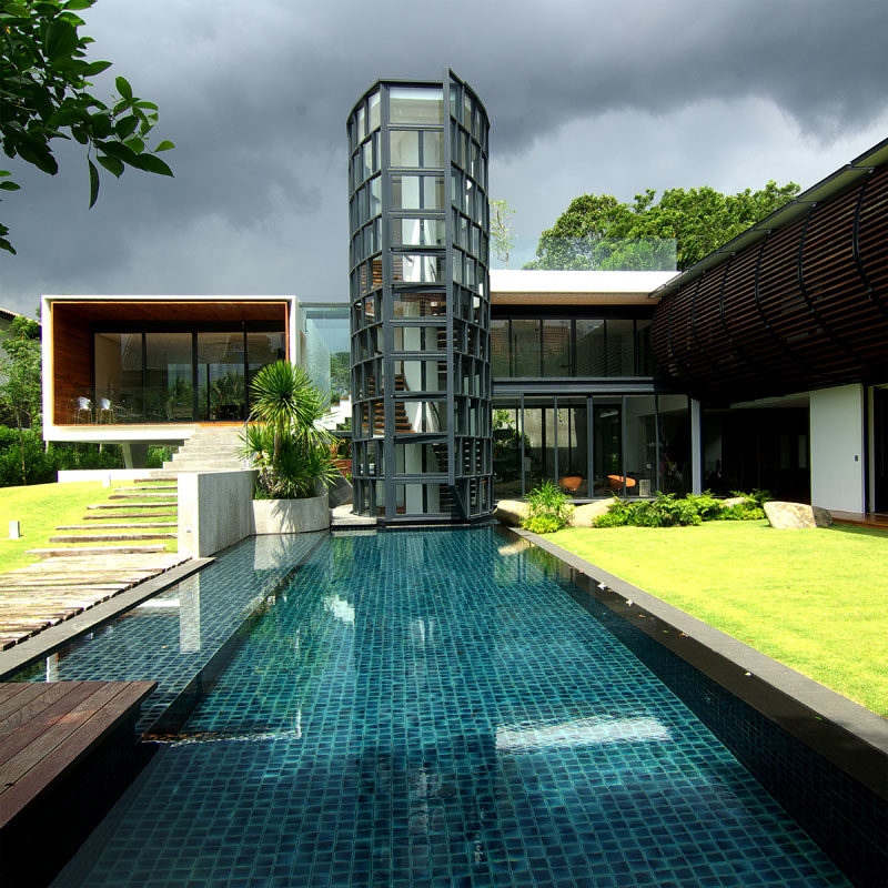 The Longhouse Residential House by Aamer Architects #Architecture #SwimmingPool #ModernHouse