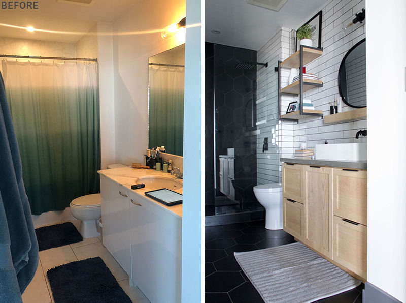 Before And After A Bathroom Renovation With Touches