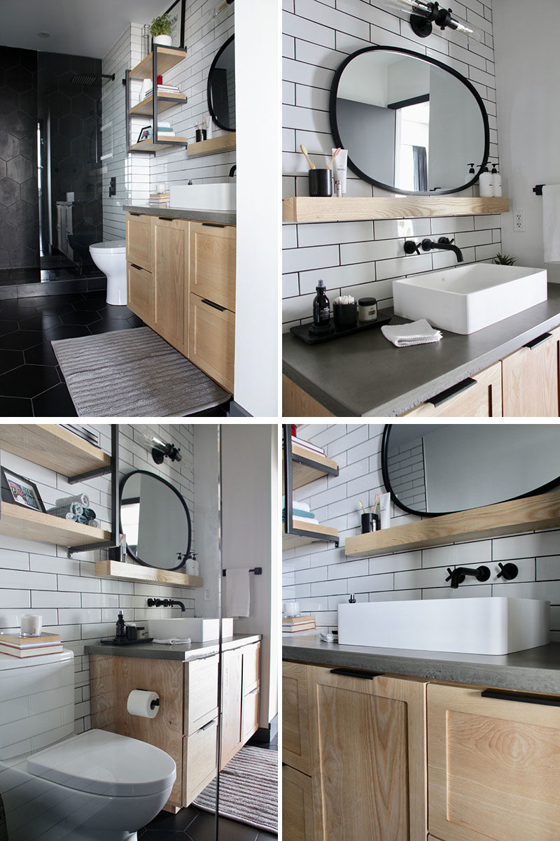 Bathroom Renovation Ideas - This master bathroom renovation included white subway tiles, large format matte black hexagon tiles, custom-designed shelves, and a wood vanity with a concrete countertop. #BathroomRenovation #BathroomMakeover #BathroomDesign #ModernBathroom