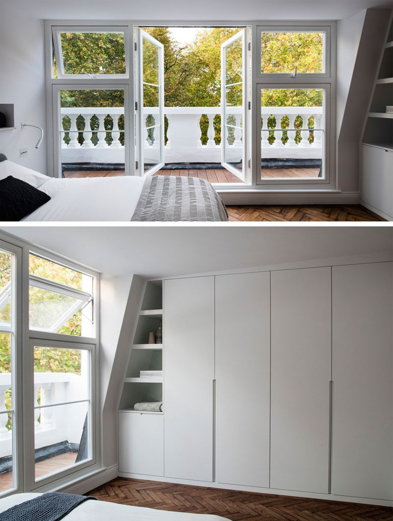 Bedroom Ideas - In this updated master bedroom, doors open to the private balcony, while custom designed shelving and closets fit into the wall perfectly. #MasterBedroom #BedroomDesign #BedroomIdeas