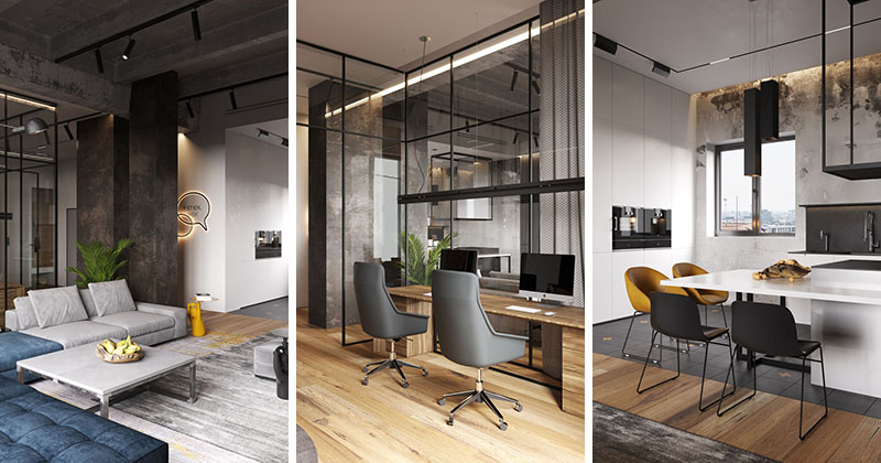 A Glass Wall Separates The Living Room From The Home ...