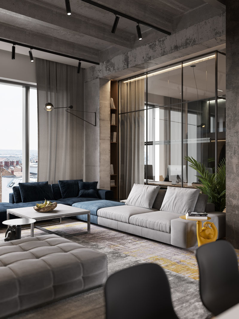 astounding modern apartment interior design living room | A Glass Wall Separates The Living Room From The Home ...