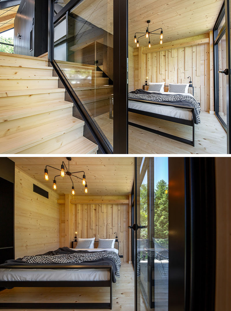 Bedroom Ideas - In this modern bedroom, glass walls help to keep the room bright, while wood adds a natural touch to the interior. #BedroomIdeas #GlassWalls #Windows