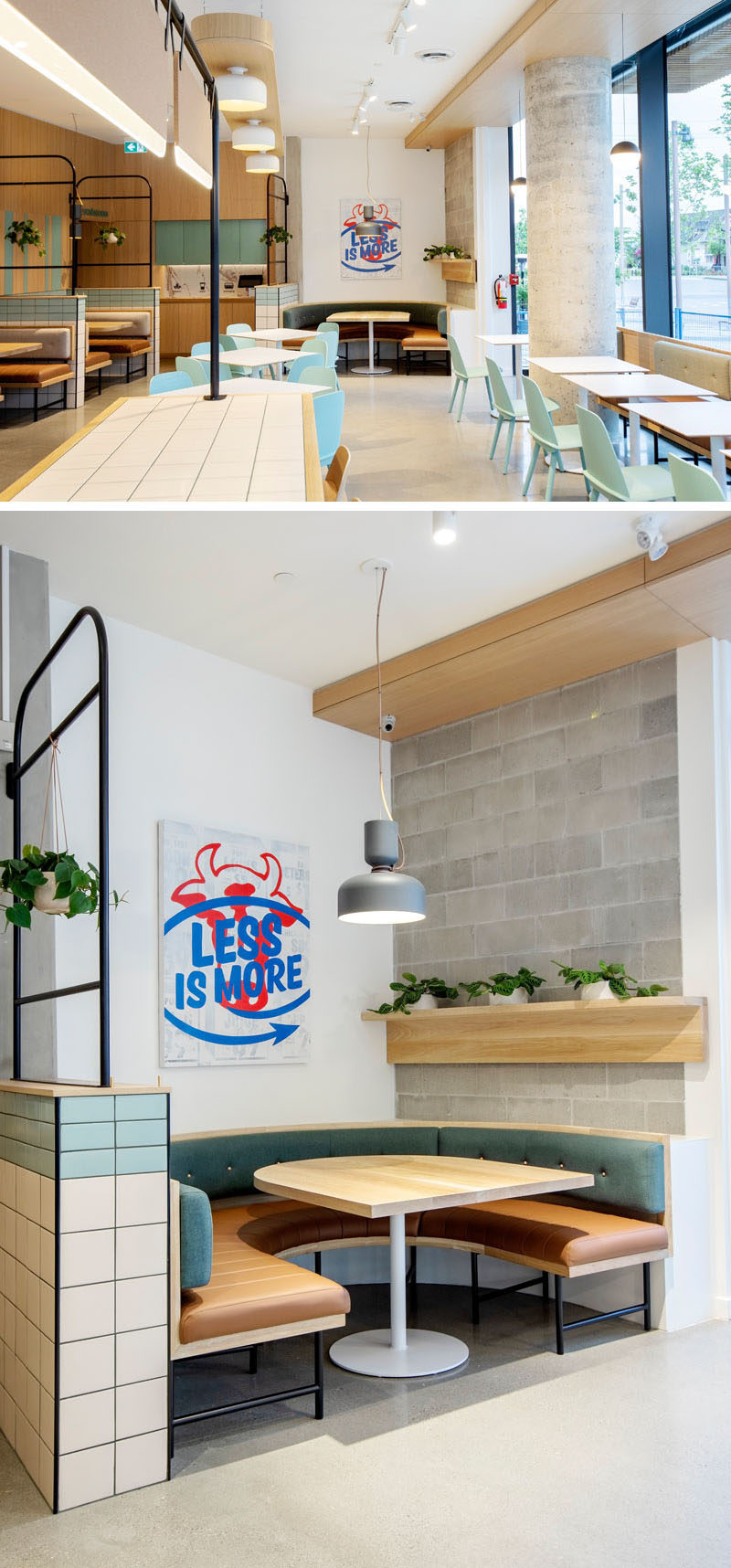 Restaurant Design - This modern fast-casual restaurant includes natural and handmade finishes such as white oak, woven wool upholstery and hand-made glazed tiles. #ModernRestaurant #RestaurantIdeas #RestaurantDesign