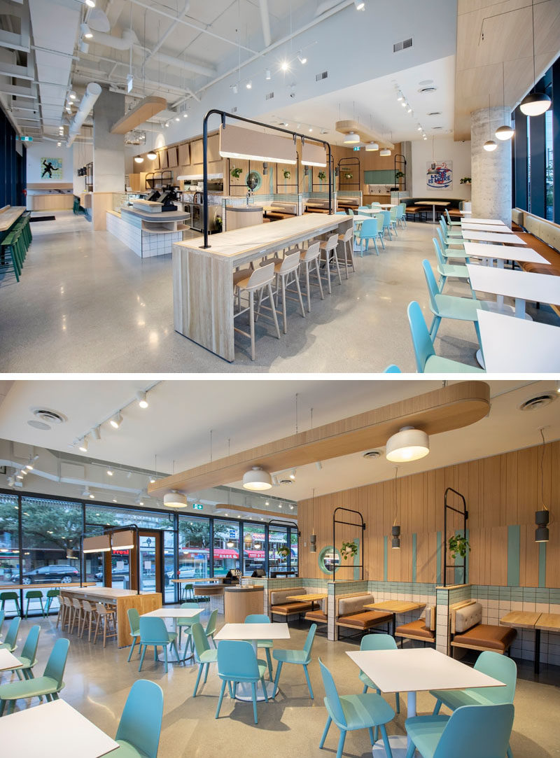Restaurant Ideas - The objective of the interior of this modern fast-casual restaurant was to create a versatile space that would accommodate a dawn-till-late casual dining concept, complete with a full-size kitchen, café, and juice bar.  #RestaurantDesign #RestaurantIdeas #ModernRestaurant
