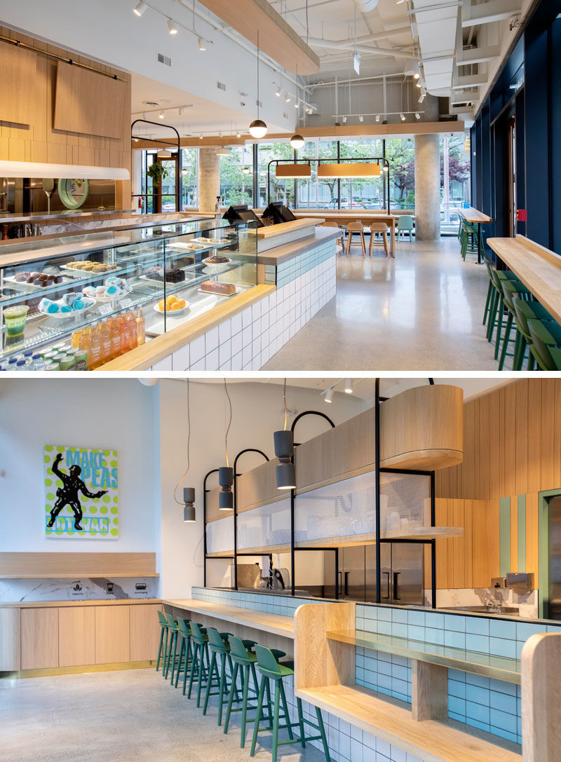 Restaurant Ideas - To reflect the coastal and mountainside setting of this modern fast-casual restaurant, tones of marine blue and forest green were incorporated across the space, from the millwork and tile finishes through to the upholstery and loose furniture. #RestaurantIdeas #RestaurantDesign #ModernRestaurant