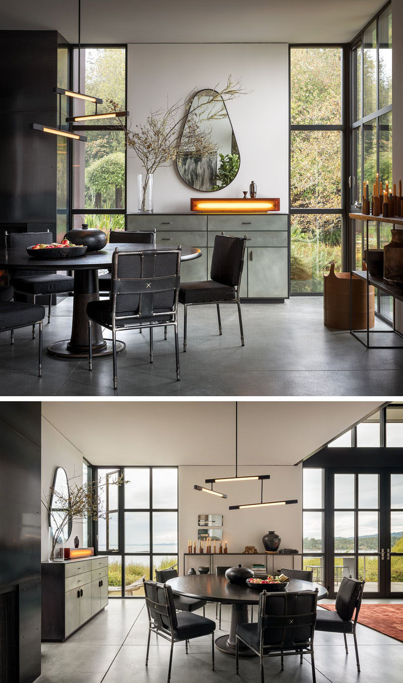 Dining Room Ideas - In the dining room, a Wintercheck Factory Light sits atop a credenza by Wüd Furniture. Iron and saddle leather Casamidy chairs surround the Nolan Dining Table by Troscan Design, while the lighting fixture is Mary Wallis's Melbourne 3-Tier Pendant in matte black. #DiningRoom #DiningRoomIdeas