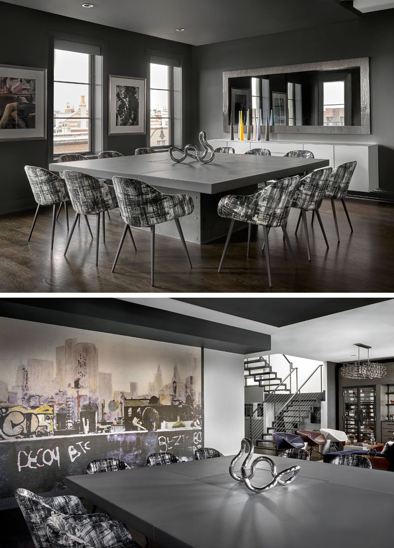 "Dining Room Ideas - In this modern dining room, a 90x90"" square concrete and zinc dining table commands attention, while the room is also accented with a wall mural by Casamance. #DiningRoom #ModernDiningRoom #SquareDiningTable #DiningRoomIdeas"