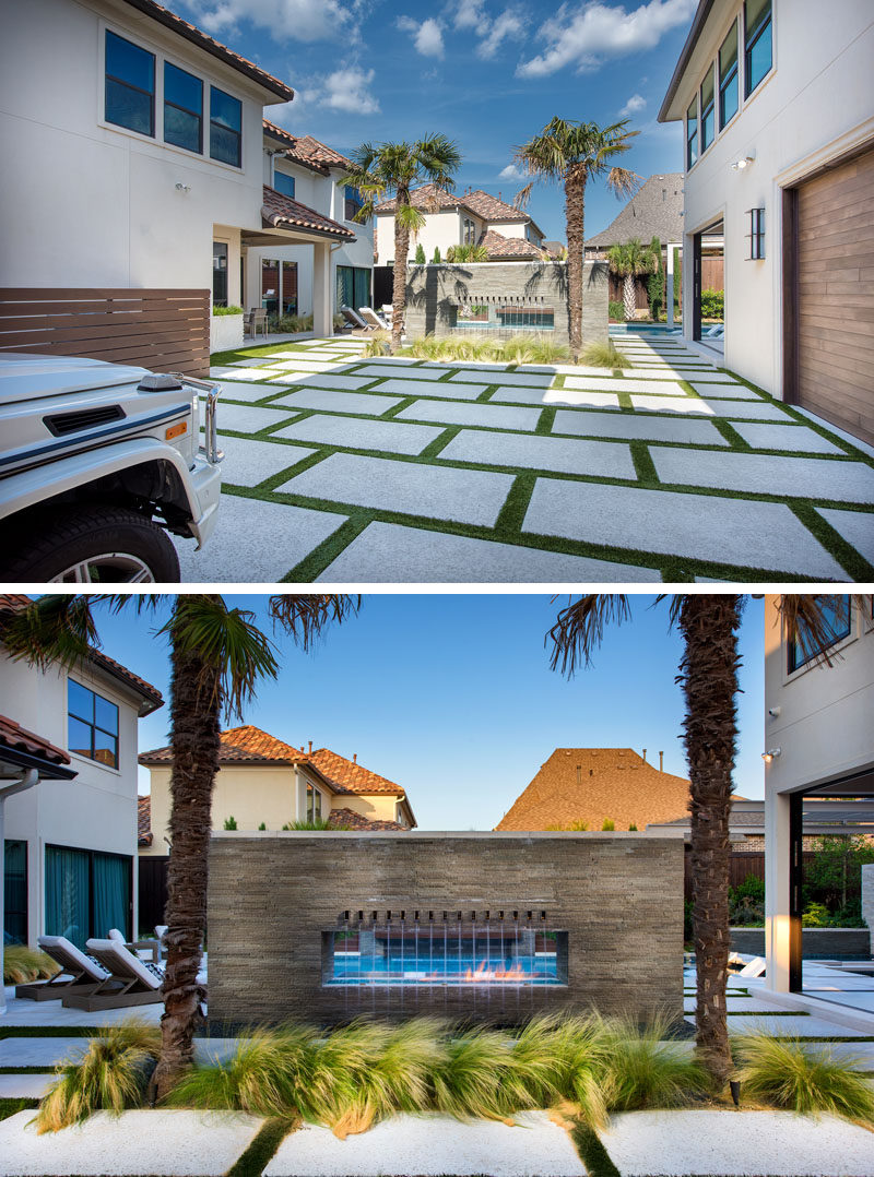 Driveway Ideas - This motor court entry is clad with Hartstone steppers and lined with synthetic turf joints. #Driveway #DrivewayDesign #DrivewayIdeas