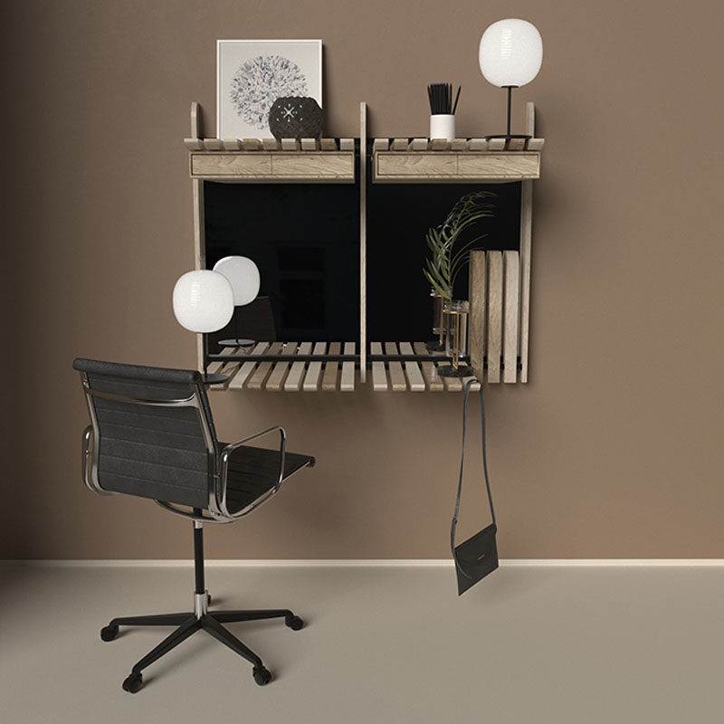 Desk Ideas - This modern wall desk or vanity unit, has wood blades that can be folded up or down depending on your use. #WallDesk #Vanity #Shelving #Design