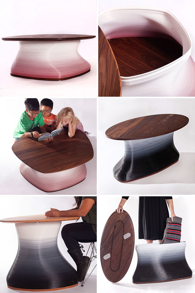 A 3D printed table that has storage hidden within.