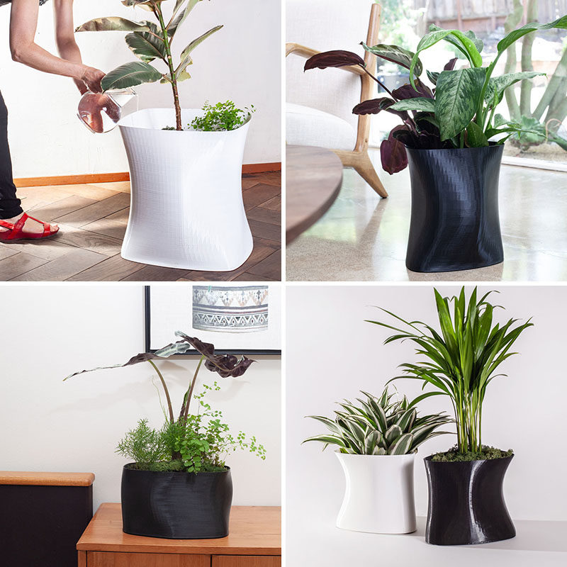 3D printed planters with a sculptural appearance in black and white.