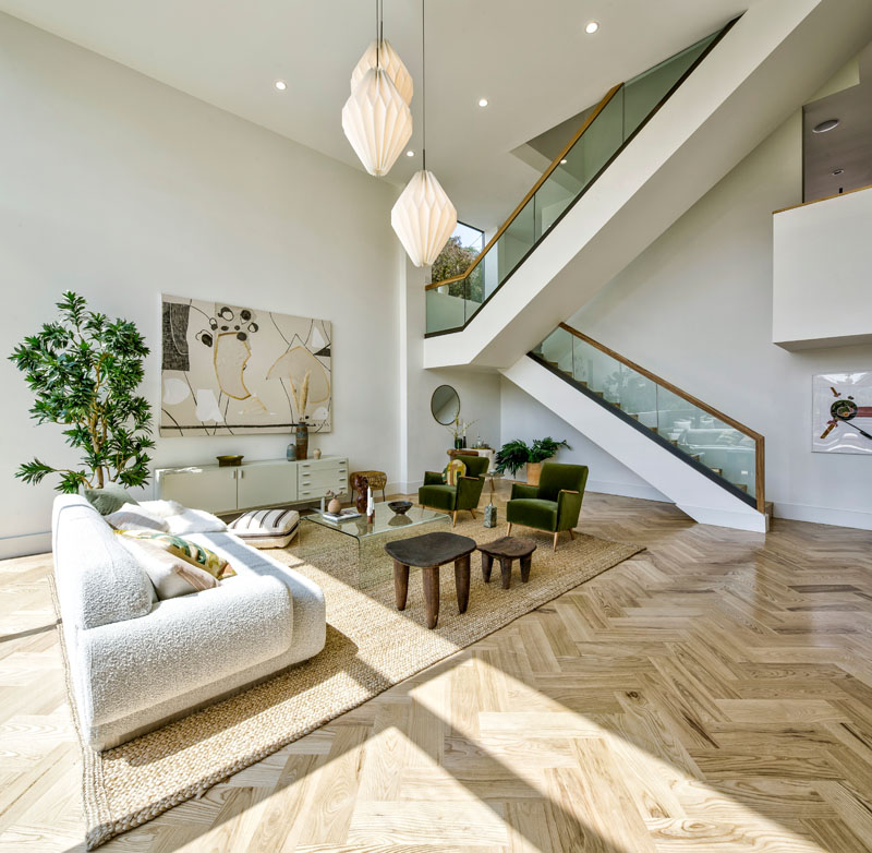 Modern Living Room High Ceiling Stairs