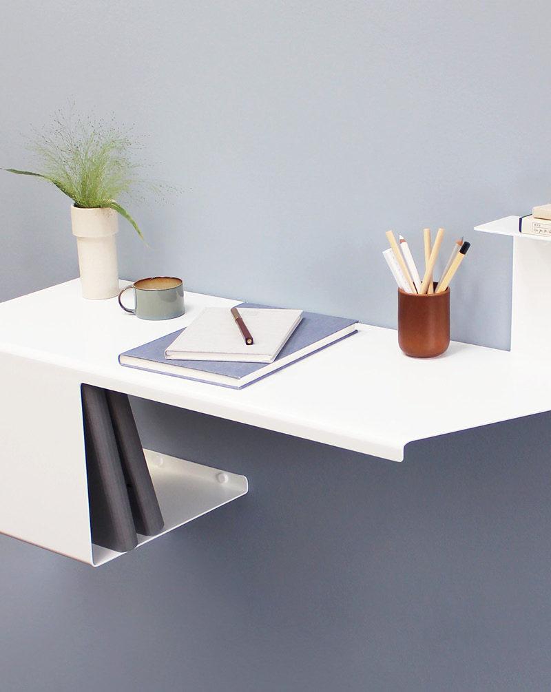 Home Office Ideas - Danish designer Anne Linde has created a sleek and modern wall desk that's folded from a single sheet of steel. #WallDesk #WallMountedDesk #HomeOffice #SmallSpaceIdeas