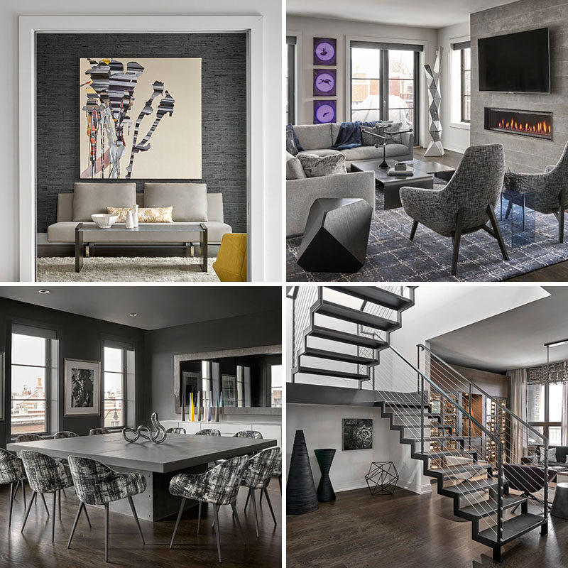 Mia Rao Design has recently completed the modern interiors of a penthouse apartment for their client who wanted an edgy urban vibe in his new modern Chicago home. #ModernIndustrial #ModernInteriorDesign #ModernInterior