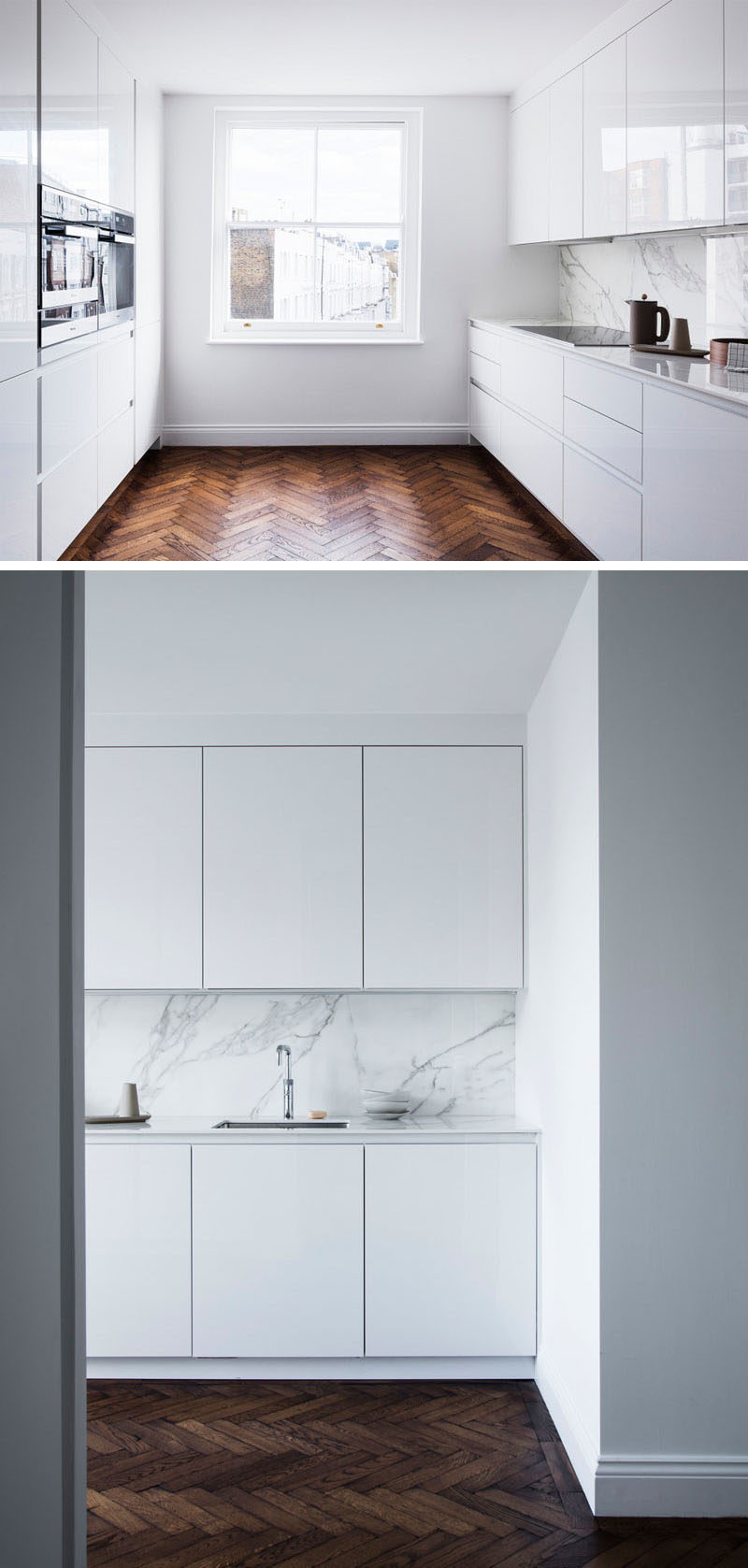 Flooring Ideas - Throughout this renovated house, herringbone oak timber flooring was specified as it would've been the original flooring. The designers distressed/damaged the floor and used 'old English' stain to give a 200 years old look.  The flooring also contrasts the bright walls and the glossy white minimalist cabinets in the kitchen.#FlooringIdeas #WoodFlooring #DarkFlooring #WhiteKitchen