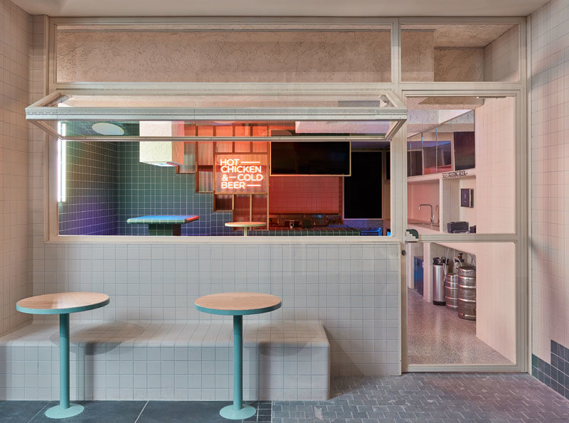 Restaurant Ideas - Tiles and tiered seating have been used throughout this modern restaurant to create a unified appearance that's inspired by retro 60's style and Korean bath houses. #Tile #RestaurantDesign #RestauarantIdeas