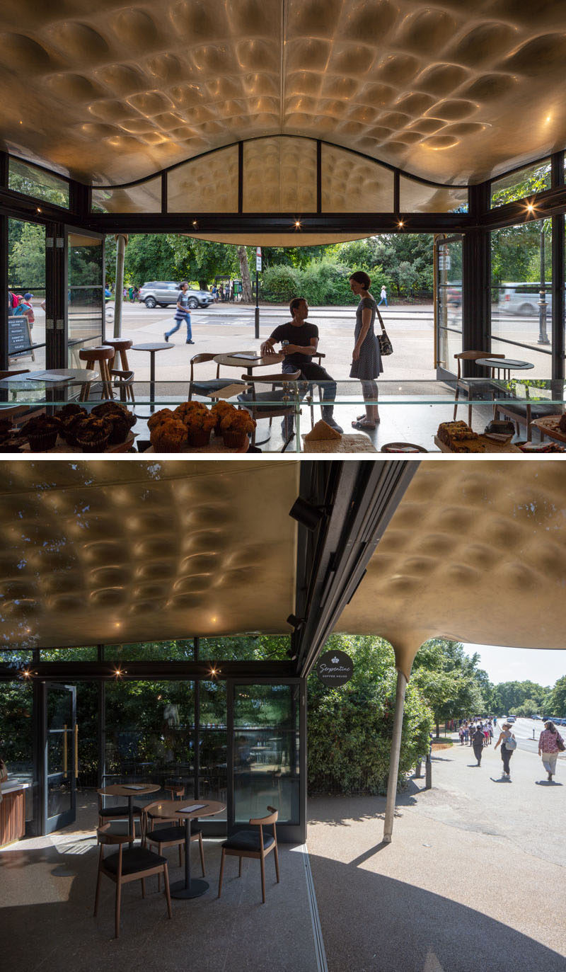 This modern coffee house has a design that echoes a stingray's flight through water, and draws inspiration from Japanese teahouses. #ModernCoffeeHouse #CoffeeHouse #Architecture #Cafe #CoffeeShop #Sculptural
