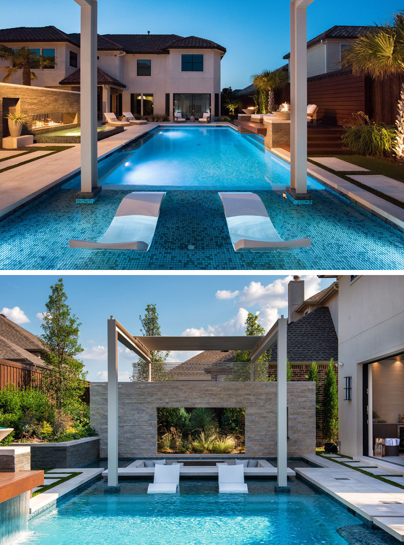 A Sunken Lounge, A Cantilevered Deck, And A Spa With A Fireplace ...