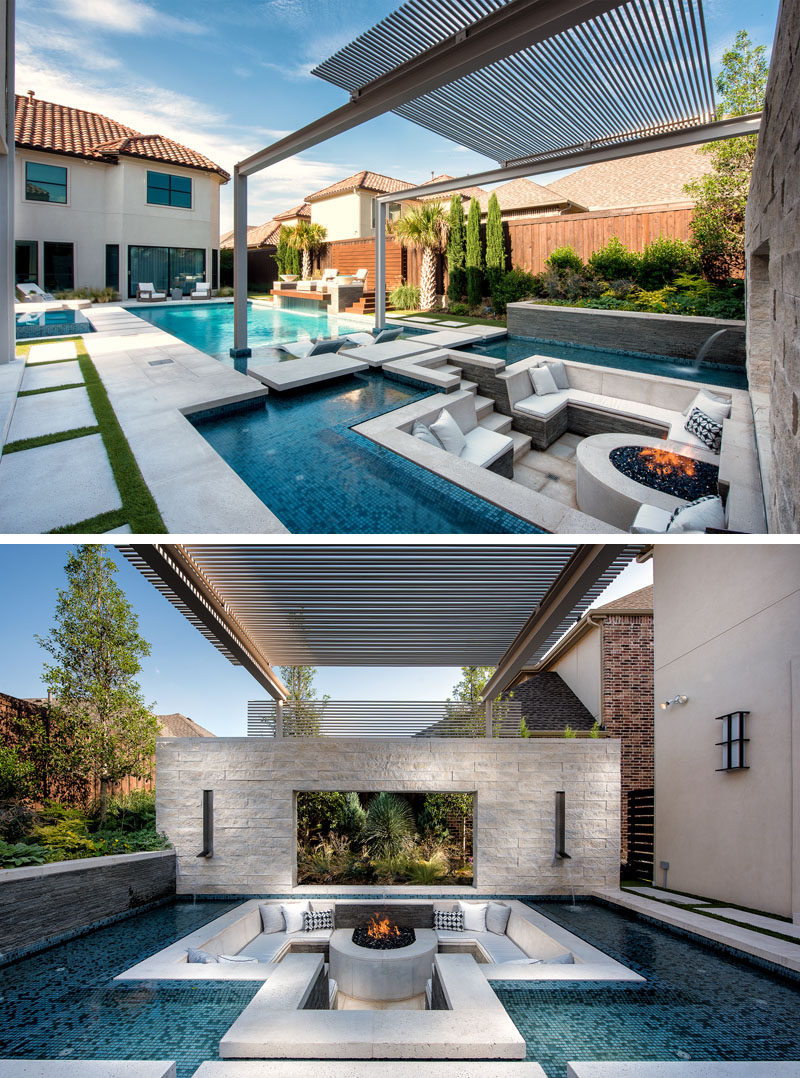 This modern and luxurious swimming pool has a spa with a fireplace, a sunken lounge with a firepit, a cantilevered deck, and floating stepper pads. #SwimmingPool #PoolDesign #LandscapingIdeas #PoolIdeas