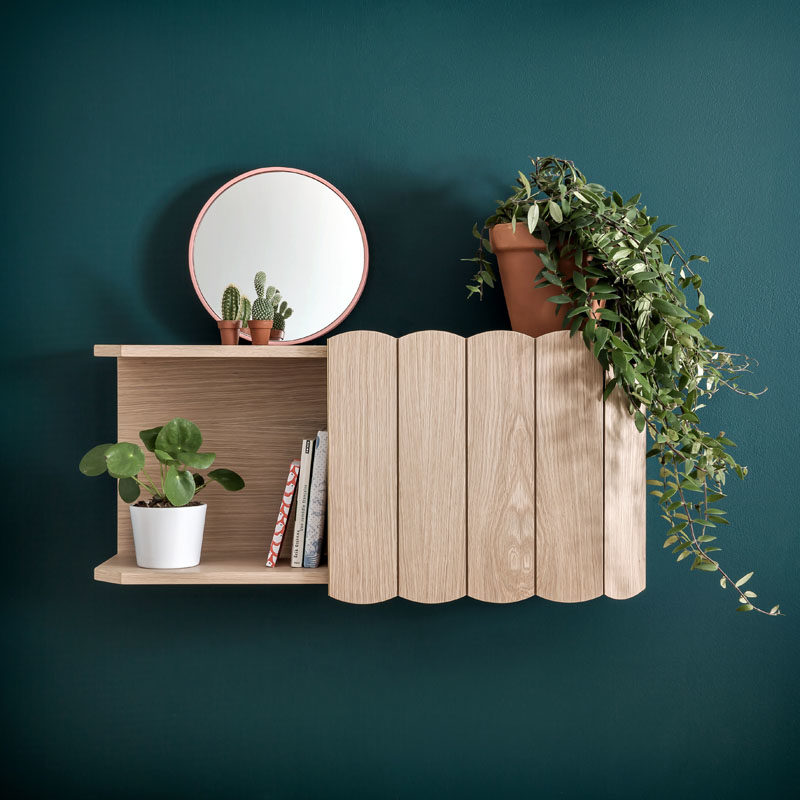 The design of this modern furniture collection, that includes a sideboard and floating cabinets, was inspired by small fences found around poppy fields. #FurnitureDesign #FurnitureIdeas #ModernFurniture #ModernDesign