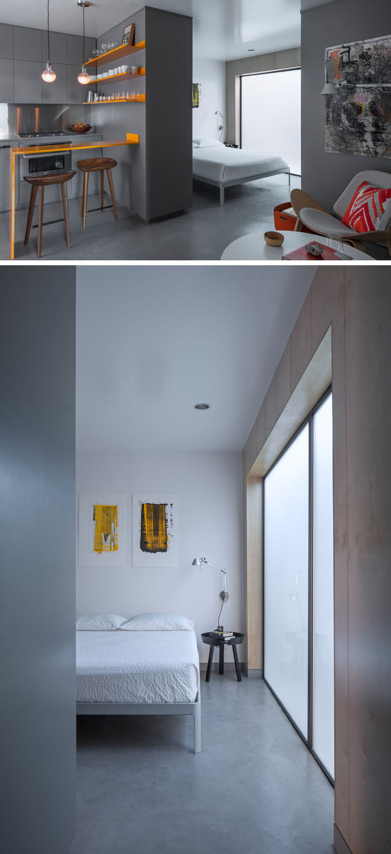 In this micro apartment, full height hidden storage delineates space and provides visual and acoustic privacy for the open bedroom. #InteriorDesign #MicroApartment #SmallInterior