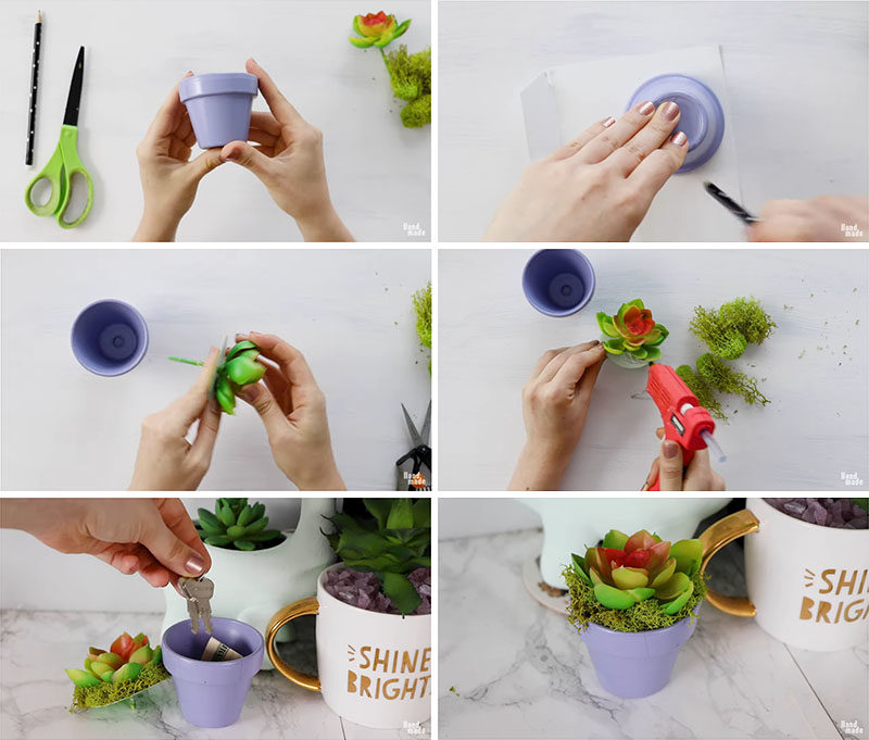 Storage Ideas - Create hidden storage within a small flower pot by adding a fake plant with moss for a lid. #StorageIdeas #HiddenStorage #HomeDecor #Storage
