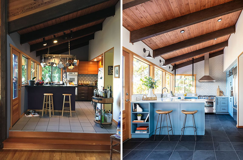 Before And After A Dark And Dated Kitchen Has Been Transformed With Matte Blue Cabinets And Light Grey Wall Tiles