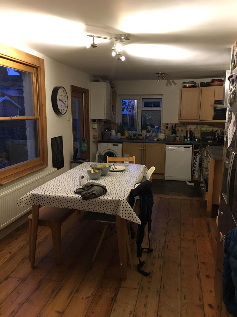 Before Photo - The rear of the home was dark and crowded, with only a single side door connecting the interior to the garden. #BeforeRenovation #Kitchen
