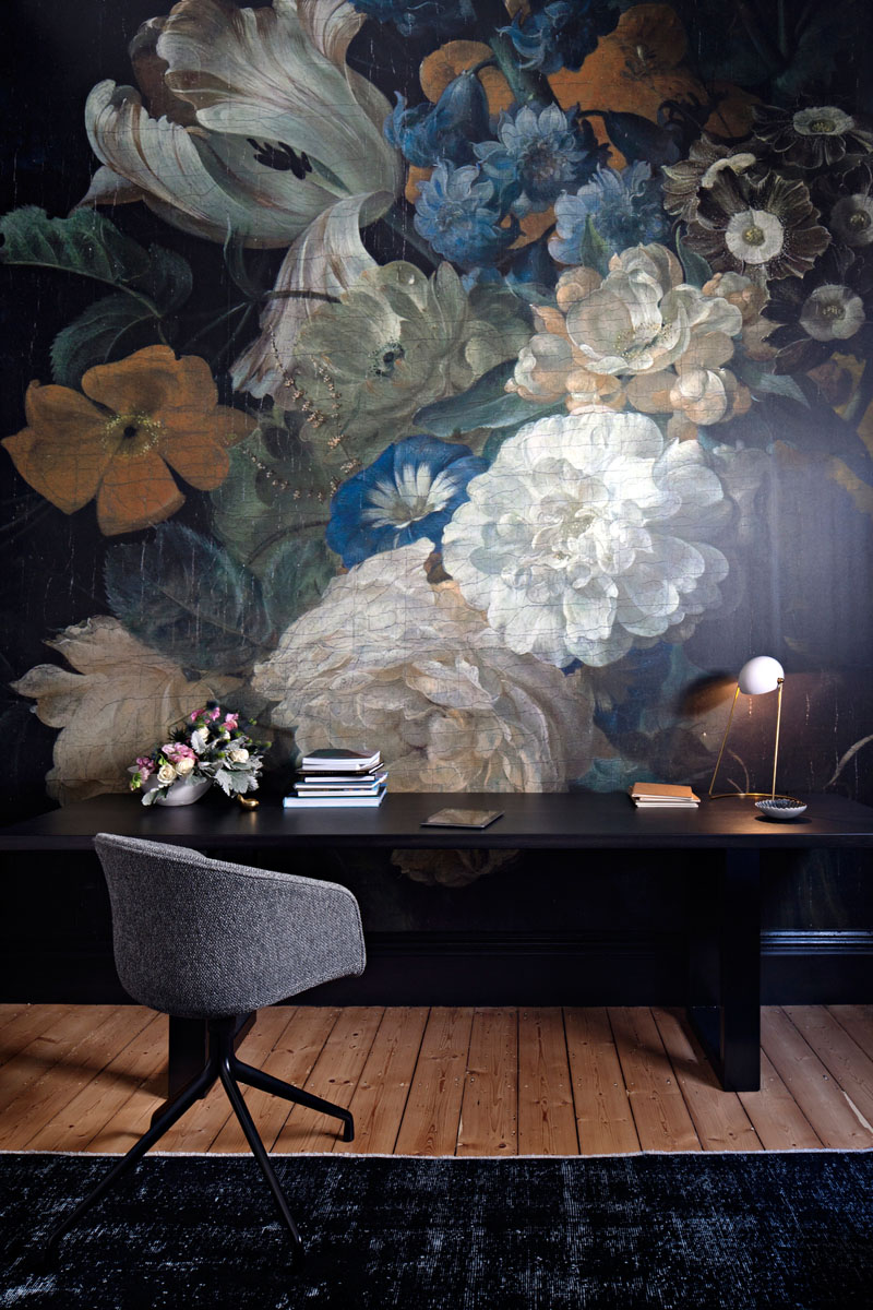 Contemporary Home Office Dark Floral Wallpaper 190919 1255 09