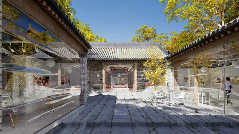 Daipu Architects have updated an old hutong in Beijing, China, and transformed it into a modern space with transparent glass skin. #Architecture #GlassWalls #BuildingDesign