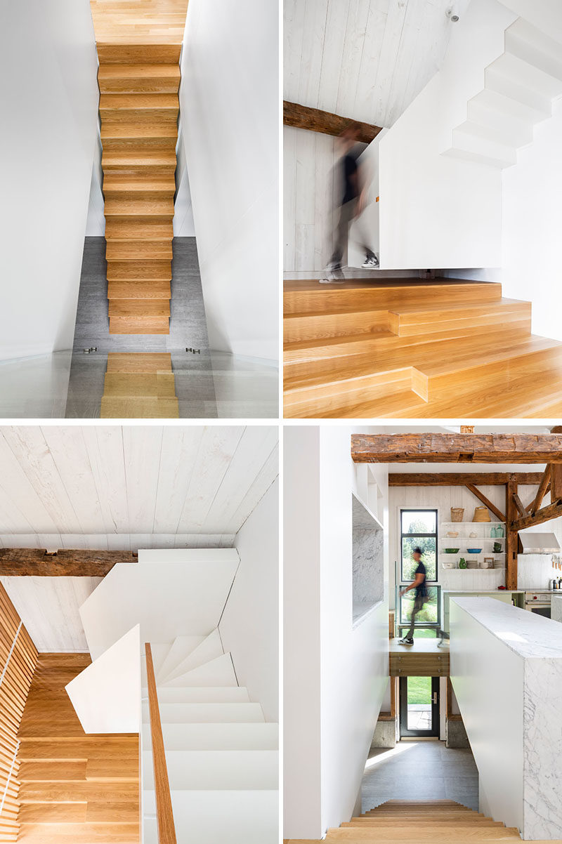 Stair Ideas - A light wood and white staircase connects the various levels of this modern barn. #StairIdeas #ModernStairs
