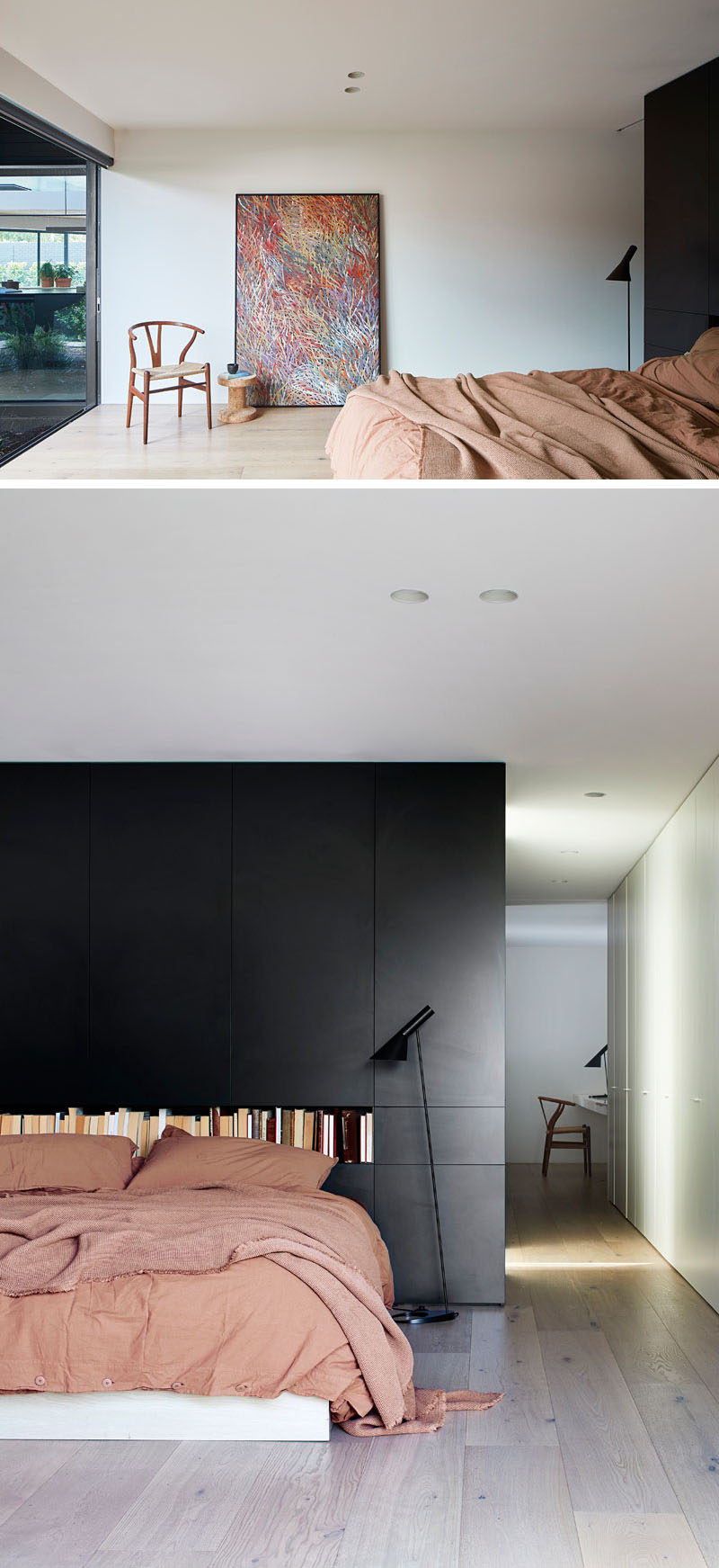 Bedroom Ideas - In this modern master bedroom, a black wall creates a bold backdrop for the bed, that also looks out to a small garden. #MasterBedroom #BedroomDesign #BlackAccentWall #BlackWall #BedroomIdeas
