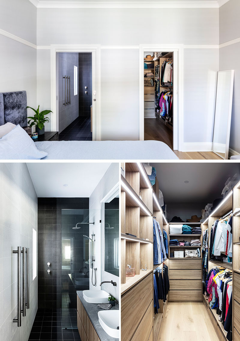 Bedroom Ideas - This modern bedroom was extended to include an ensuite bathroom and walk in robe. #BathroomIdeas #BedroomIdeas #WalkInWardrobe #WalkInCloset #BlackBathroomTiles