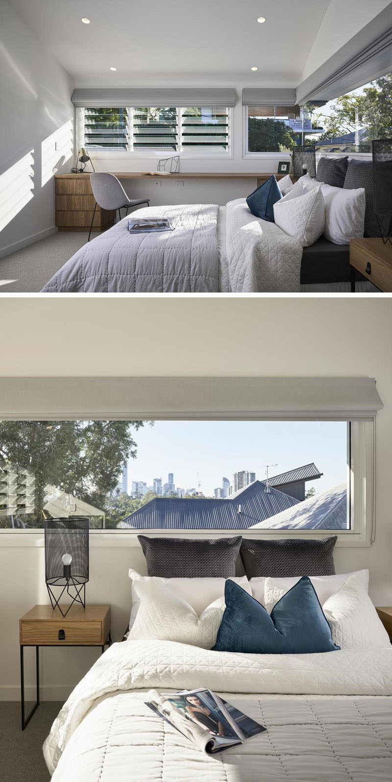 Bedrooom Ideas - In this modern bedroom, there's a desk that's located along one wall, while the windows wrap around the corner and provide city views. #BedroomIdeas #ModernBedroom #Desk #Windows