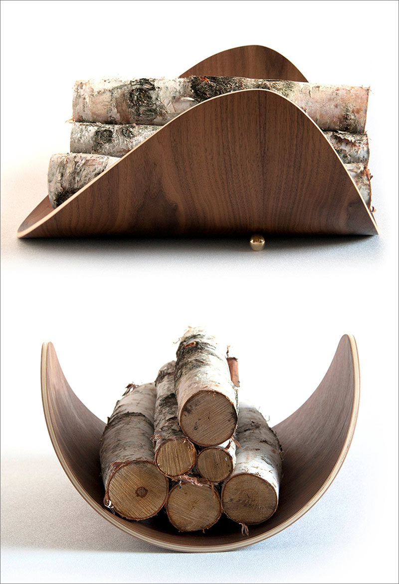 Firewood Storage Ideas - The Mission Firewood Holder was inspired by the design of the aspen leaf, and has a shape that cradles the firewood. #FirewoodStorage #FirewoodHolder #Design #ModernDecor #Fireplace #ModernWoodHolder