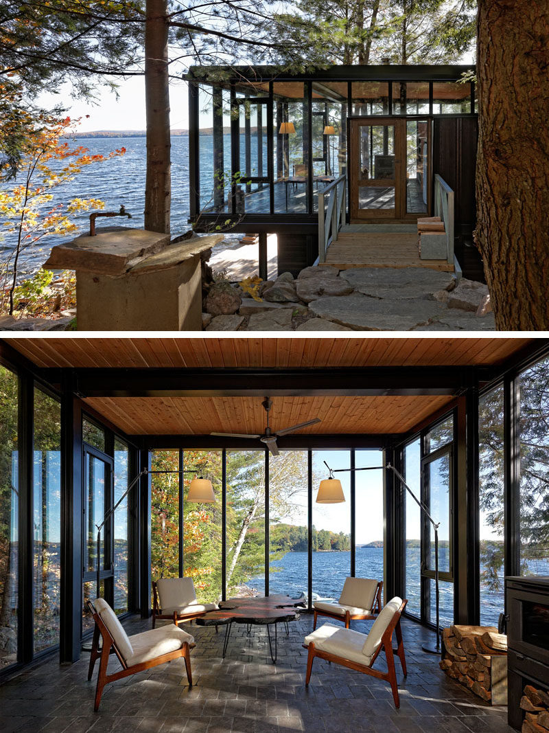 Window Ideas - This modern boat house has a small sitting area with black-framed, floor-to-ceiling windows and a fireplace. #Windows #BoatHouse #LivingRoom