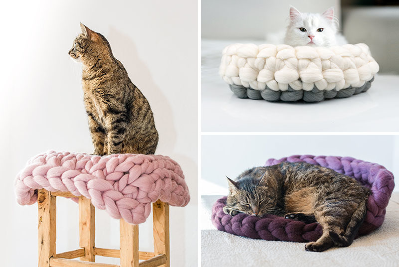 Cat Bed Ideas - These chunky knit cat beds are made from 100% natural wool, and feature modern colors. #ModernCatBed #CatBedIdeas #ModernPetBed #ChunkyKnit #KnittedCatBed #Kitten #Cat #Design