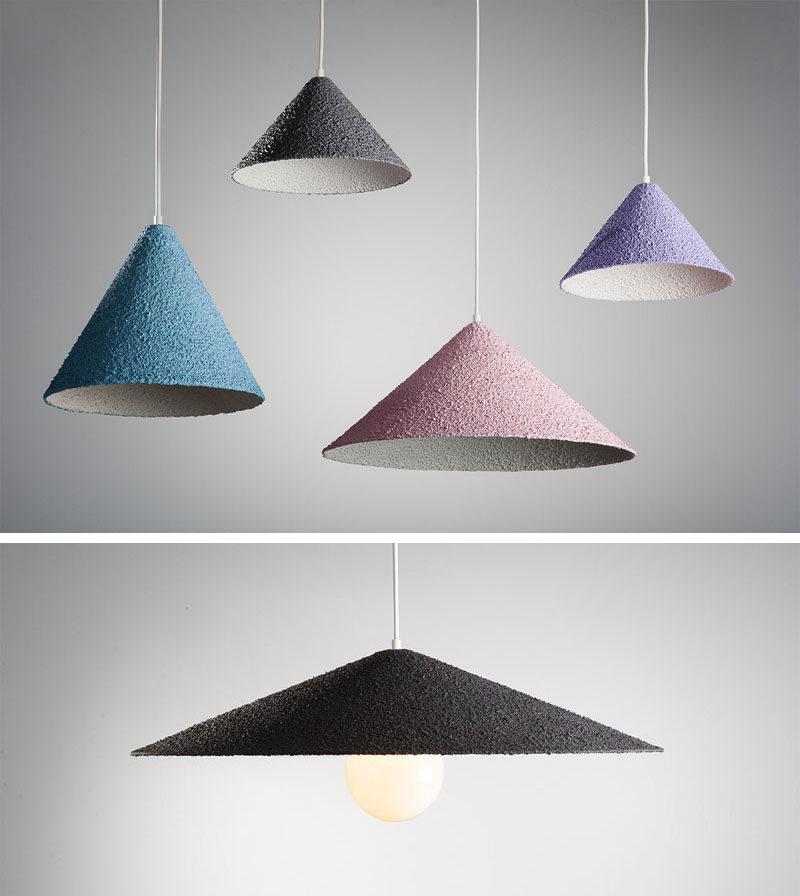 Lighting Ideas - Tel Aviv based designer Yuval Tzur has created Spritz, a modern pendant light with a simple geometric shape. #LightingDesign #LightingIdeas #ModernLighting #PendantLighting