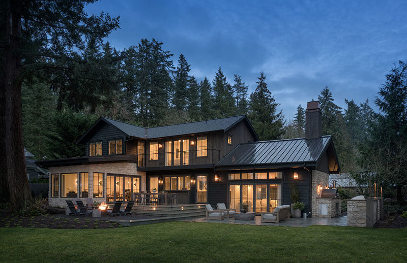 Dana Webber Design Group together with Mindy Gayer Design, has completed a new farmhouse inspired house on Bainbridge Island in Washington State. #ModernFarmhouse #FarmhouseModern #Architecture