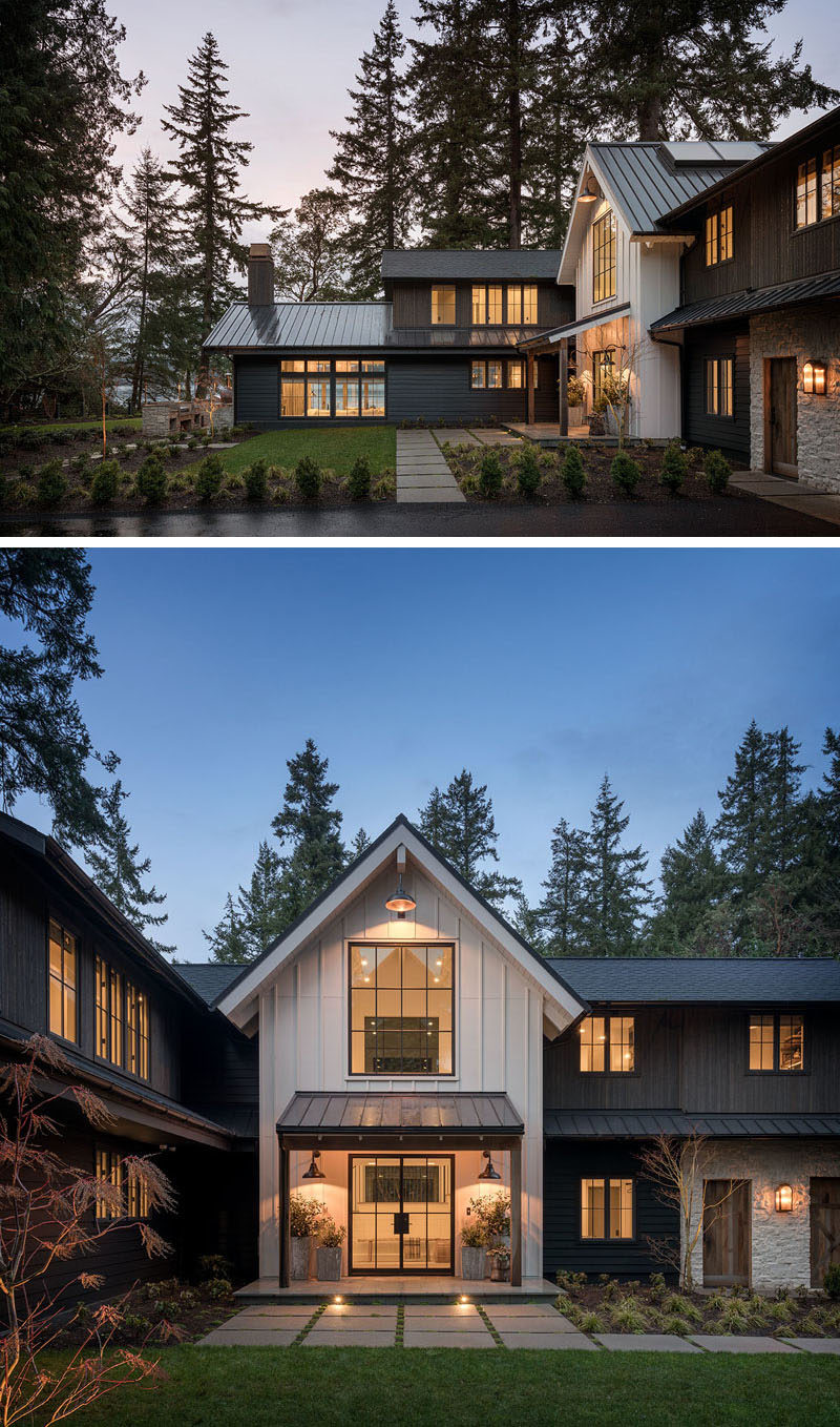 The exterior of this modern farmhouse features tight knot cedar tongue and groove siding finished in a black stain, and an accent of white board and batten siding. #ModernFarmhouse #FarmhouseMOdern #Siding