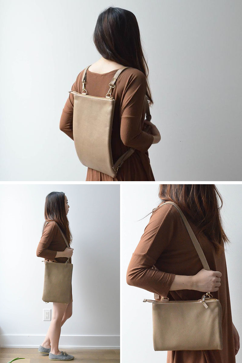 Style Idea - This buttery soft colored leather tote can be worn three ways, as a shoulder tote, a backpack, or a folded crossbody clutch. It includes 2 adjustable straps, an exterior pocket, fully lined interior, and zipper closure. #ModernBag #ModernBackpack #ModernStyle #ModernFashion #MinimalistBag #LeatherBag #LeatherBackpack