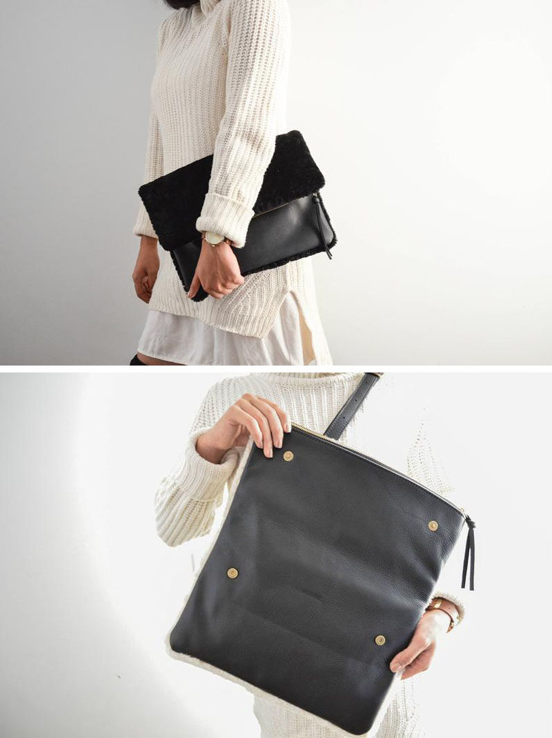Style Ideas - The Shearling Clutch has a minimalist design that's fully lined, includes a detachable adjustable crossbody strap, an interior pocket, and a hidden back pocket, while the interior is lined in a luxurious satin. #MinimalistClutch #MinimalistBag #ModernClutch #ModernStyle #ModernFashion #LeatherBag #LeatherClutch